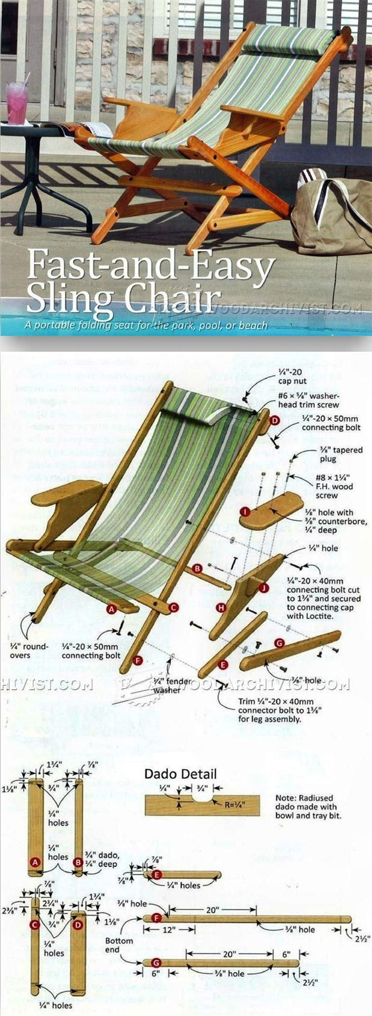 Outdoor furniture plans - Sling Chair Plans Outdoor Furniture Plans Projects Woodarchivist Com