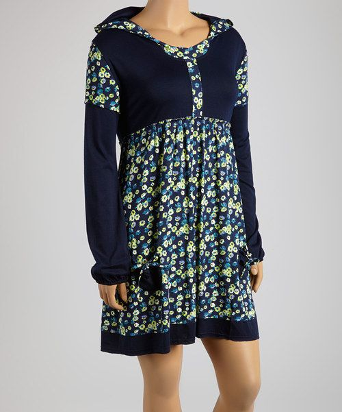 Take a look at the Reborn Collection Blue & Green Floral Hooded Empire-Waist Dress - Plus on #zulily today!