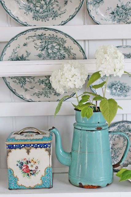 blue enamelware pitcher (via VIBEKE DESIGN)
