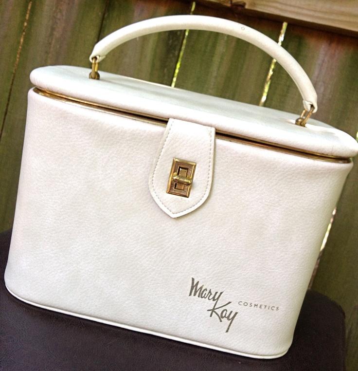 vintage makeup case - ivory leather Mary Kay travel luggage train case. $22.00, via Etsy.