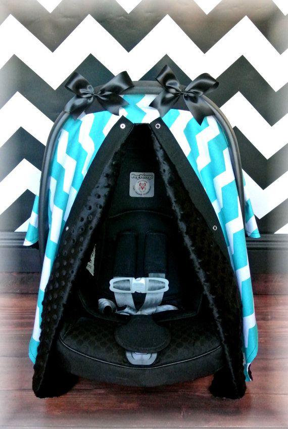 Jaydenandolivia.com   MINKY carseat canopy car seat cover TEAL BLACK by JaydenandOlivia
