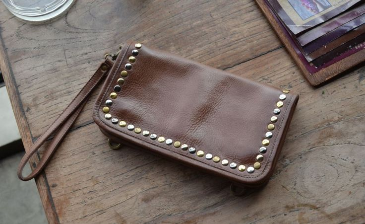 Studs bag (3 in One leather wallet, wrislet bag, crossbody bag) by INOMIO on Etsy