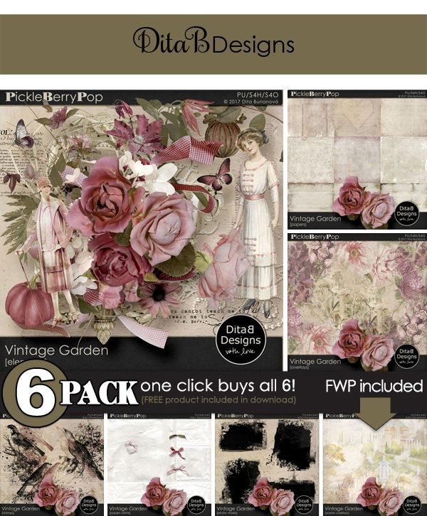 DitaB Designs: VINTAGE GARDEN 6-Pack for just $6 This is a valu...