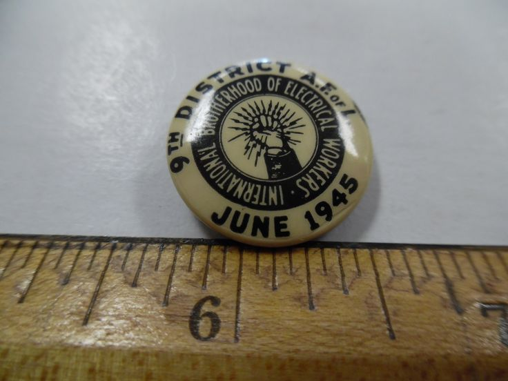 Vintage Union pins, Labor Union pins, electrical workers union, 1945 union pinback by bullseyecollectibles on Etsy