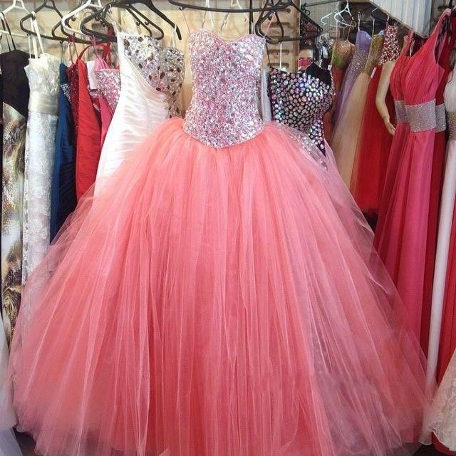 princess tulle sweetheart crystal/rhinestone quince dress