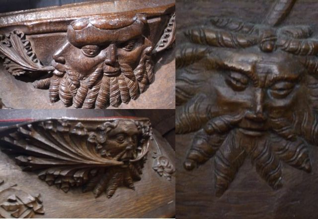 Green Man carvings on a misericord in the Church of St. Mary and All Saints, Whalley, Lancashire, England (photo Sean Breadin)