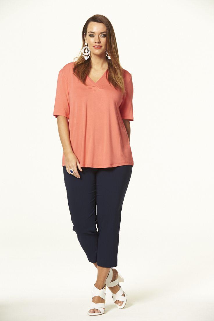 Orientique Vee Neck Top in Tangerine  #mysize #plussize #fashion #plussizefashion #spring #newarrivals #outfit