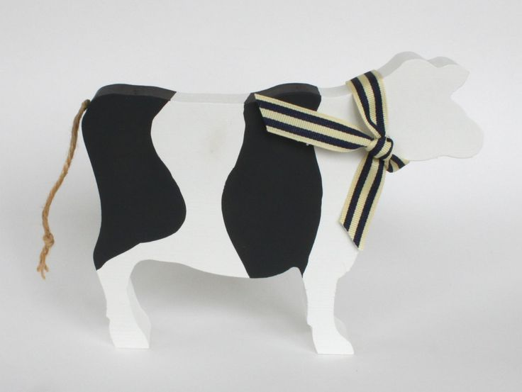 Black and White Wooden Cow Ornament, Cow Silhouette, Farm Animal, Wooden Cow, Farmers Gift by SparrowMakes on Etsy