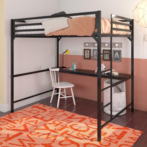 Dhp Miles Metal Full Loft Bed With Desk, Full Bunk Beds With Desk