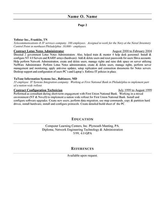 network administrator resume sample