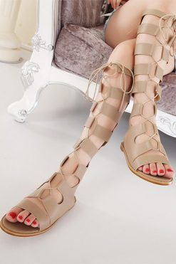 sandale gladiator pana la genunchi