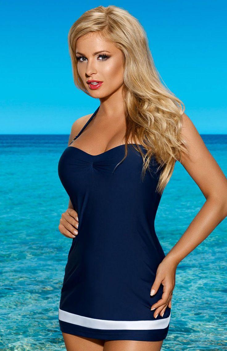 Lorin L4022/6 kostium kąpielowy Piękny i niebanalny kostium kąpielowy, fason typu sukienka plażowa, zdobiona u dołu białą wstawką materiału