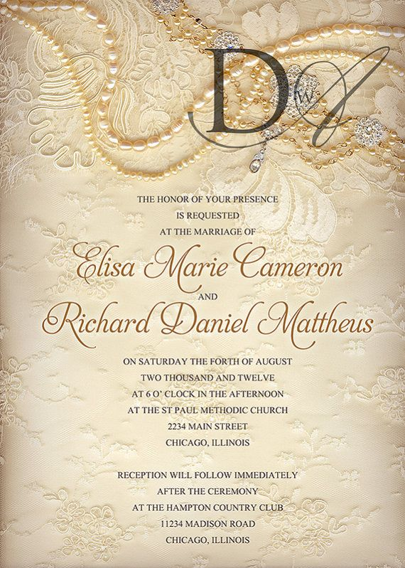 101 best images about pearl and lace vintage wedding on for Pearl wedding invitations