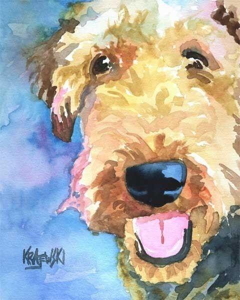Airedale Terrier Art Print d'aquarelle originale - 11 x 14
