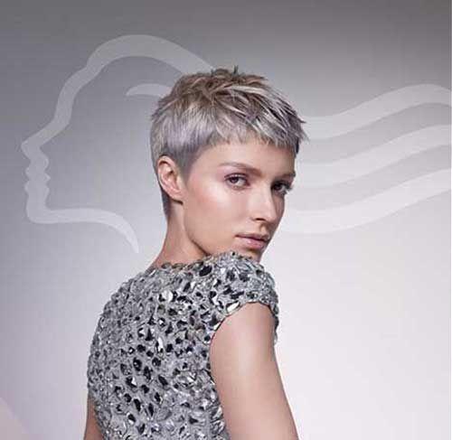 Kurz Grau Pixie Haarschnitte