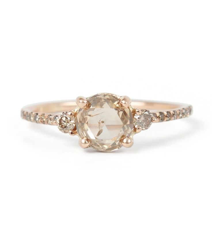 Catbird::shop by category::JEWELRY::Wedding & Engagement::Engagement Rings::Champagne Diamond Solitaire Ring