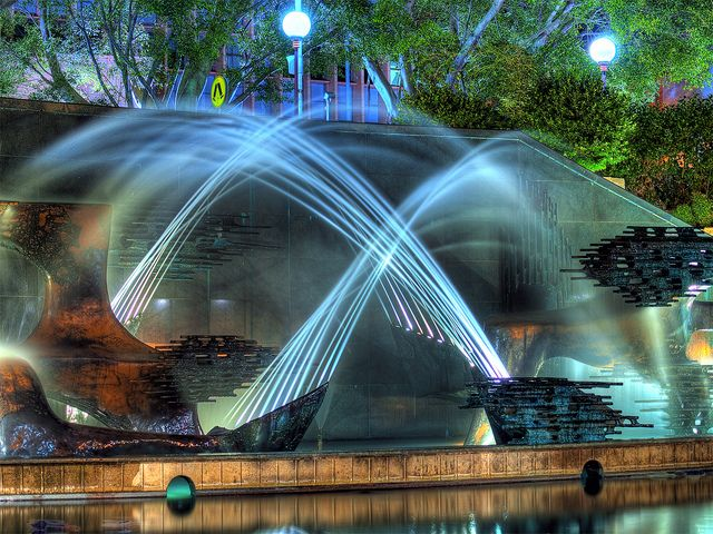 Water fountain, Newcastle, Australia in HDR. Be sure to visit the Newcastle Art Gallery just above the fountain. Amazing