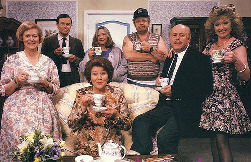 "Keeping up Appearances. Funny British humor. ""Mrs. Bucket? No, that's 'Bouquet' dear...."""