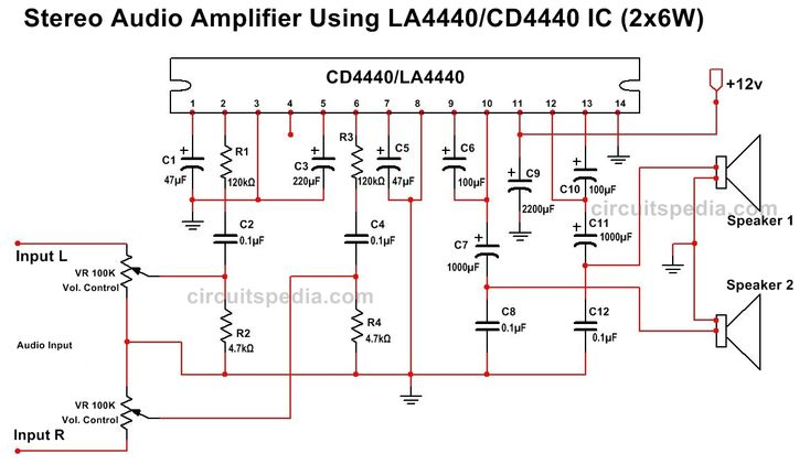 LA4440 CD4440 Stereo Audio Amplifier Circuit Diagram | la4440 ic