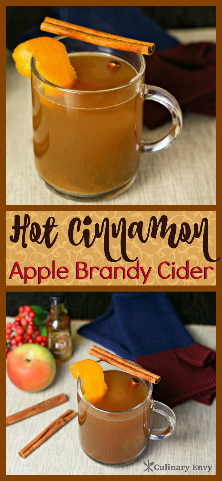 This sweet delightful Hot Cinnamon Apple Brandy Cider is a perfect Holiday Beverage spiced with fresh squeezed apple cider, cloves, nutmeg, ginger and cinnamon!  Click to read more or Pin & Save for later!
