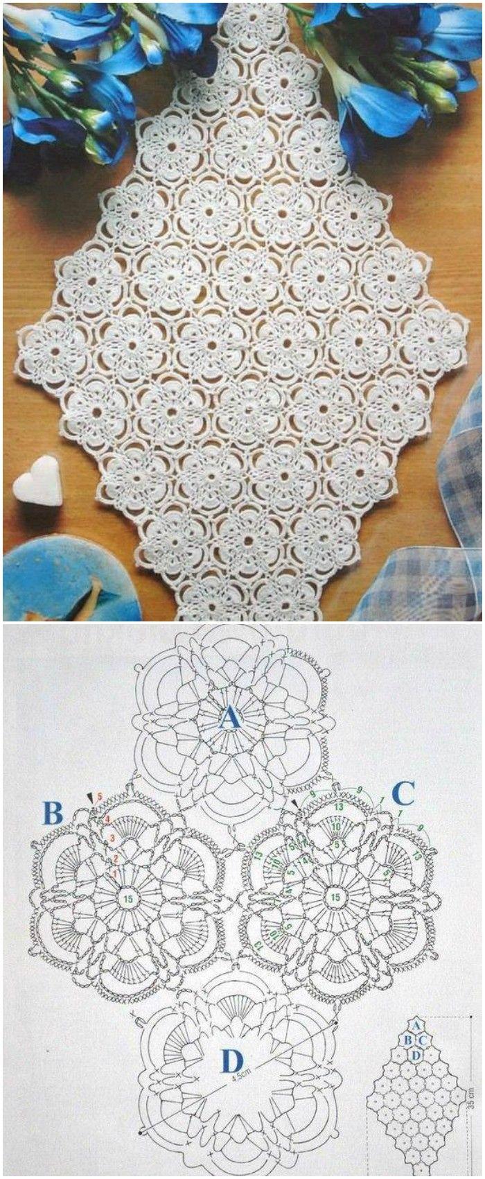 DIY Crochet Table Runner -Free Patterns | haken | Pinterest ...