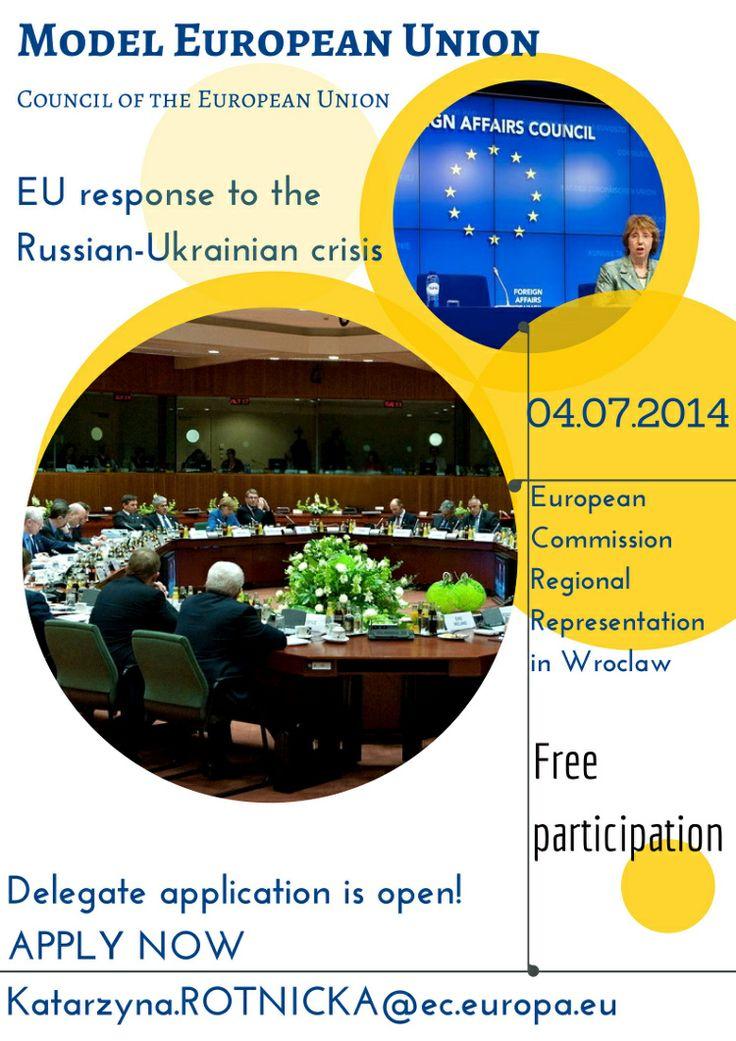 Model Unii Europejskiej to wyjątkowa okazja dla uczniów i studentów, aby wcielić się w rolę prawdziwych dyplomatów i reprezentować jeden kraj członkowski Unii Europejskiej. Będziemy dyskutować o reakcji Unii Europejskiej na kryzys ukraińsko – rosyjski. To wyjątkowe spotkanie, prowadzone w języku angielskim, organizują w lipcu stażyści z Przedstawicielstwa Regionalnego Komisji Europejskiej w Polsce.