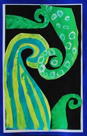 Koru Painting: Warm and Cool Colors