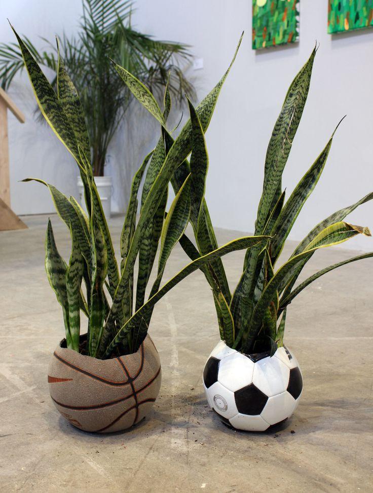 """Radamés """"Juni"""" Figueroa, Tropical Readymade (Basketball, Soccer Ball), SculptureCenter, 2014."""