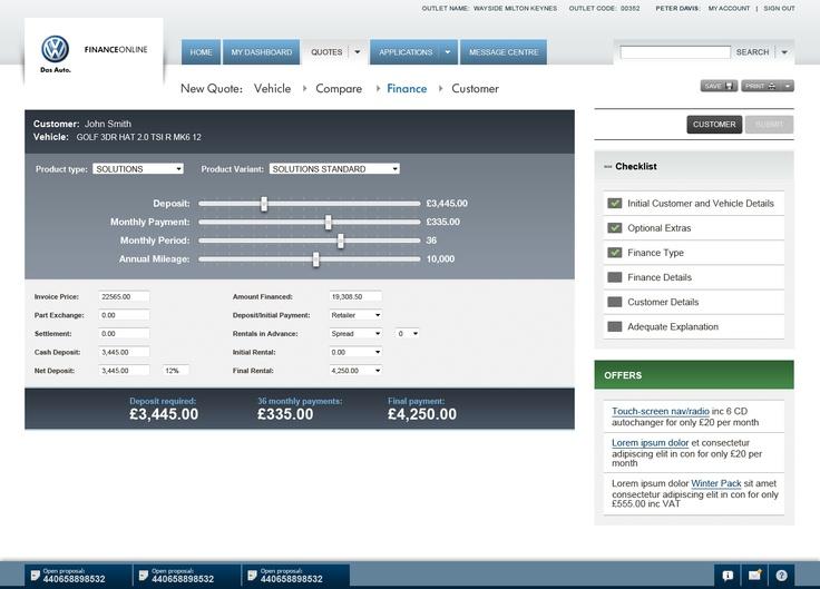 Volkswagon Financial services application