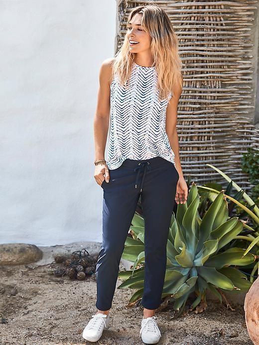 Love the printed top and relaxed pants. Would pair with different shoes; something with some color