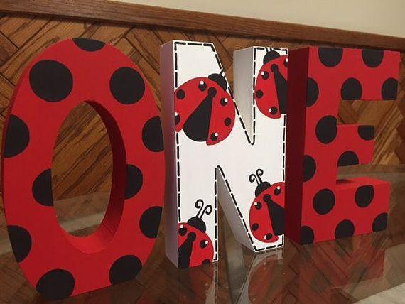 Ladybug freestanding ONE Photo Prop - Hand Painted - First Birthday - 1st Birthday - lady bug