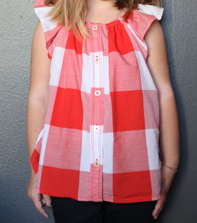 TRUE BIAS - tutorial - womens button up to childrens blouse.