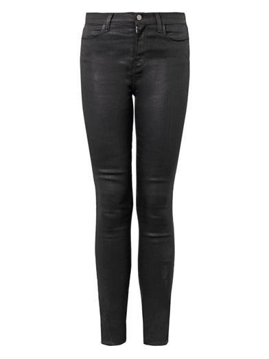 J Brand Maria gecoat high-rise skinny jeans