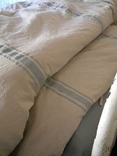 How to create vintage grain sack inspired stripes using fabric paint...for James' drop cloth curtains?