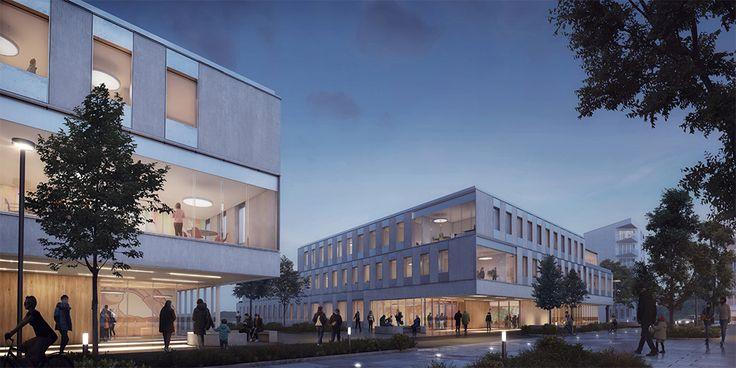 Hus 2 och 4, Albano, Stockholm. Byggstart 2016. Färdig 2020. Arkitektskiss: Christensen & Co Arkitekter