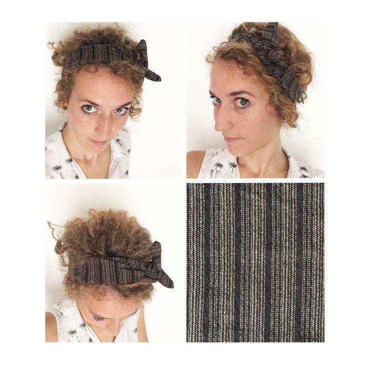 ▲ RAYURE ▲ Bandeau noeud, rétro, tissus rayé beige sable & marron foncé (chocolat) , head band, bandeau noué, : Accessoires coiffure par elora