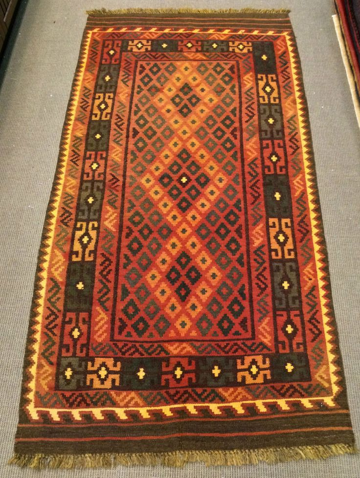 AFGHAN / TURKISH HANDMADE FLAT WEAVE VINTAGE KILIM  RUG SIZE: 102 x 208 cm