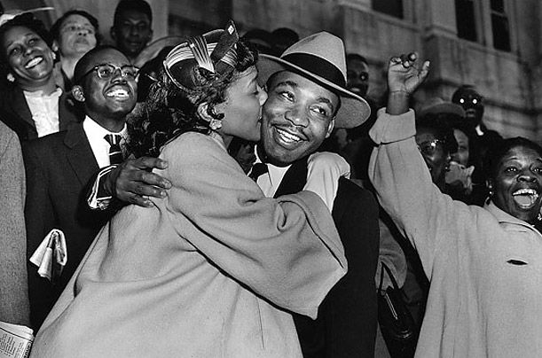 Coretta Scott King and Martin Luther King, Jr.- Coretta Scott King welcomes her husband, Dr. Martin Luther King Jr., as he leaves a courtroom in Montgomery, Ala., on March 22, 1956  Read more: Coretta Scott King: 1927-2006 - Photo Essays - TIME http://content.time.com/time/photogallery/0,29307,1947503,00.html#ixzz2qxjM3Ur7