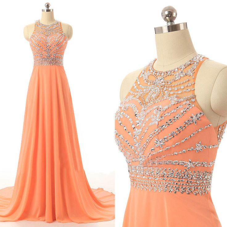 New Arrival Orange Prom Dresses Long Elegant Chiffon Party Evening Dress