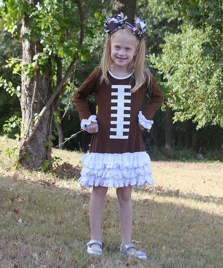 $7.99Under The Hooded Towels Brown & White Football Dress - Toddler & Girls | zulily