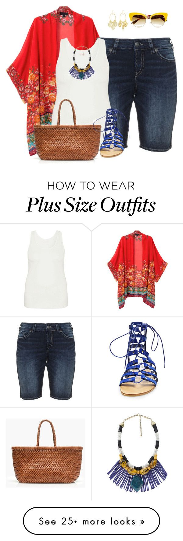 """""""plus size kimono styles/summer diva"""" by kristie-payne on Polyvore featuring WithChic, Silver Jeans Co., maurices, Kenneth Jay Lane, J.Crew, Steve Madden, Dolce&Gabbana and MANGO"""