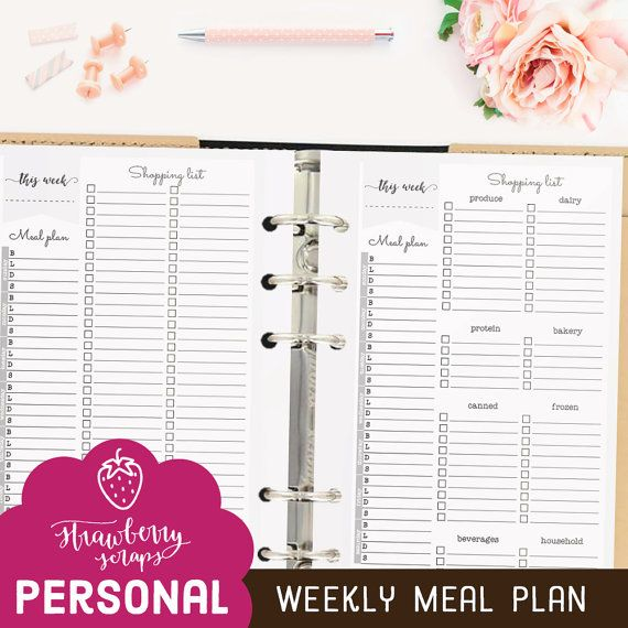 Meal planner printable: WEEKLY MEAL PLAN by StrawberryScraps