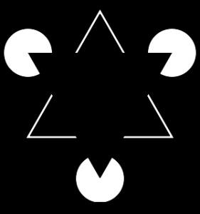 Optical illusion of Gaetano Kanizsa (Gestaltgesetz zur spontanen Ergänzung von gegebenen Reizmustern)