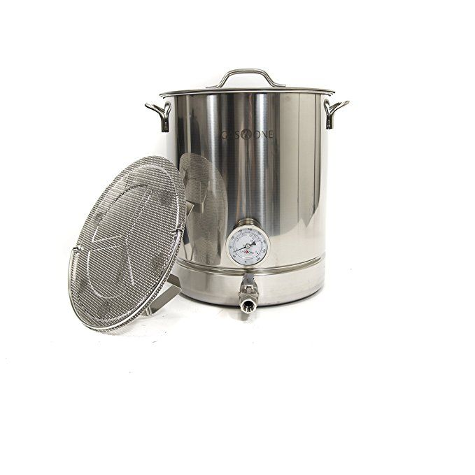 Gasone 10 Gallon Stainless Steel Home Brew Pot Brew Kettle Set 40 Quart Dual Filtration Tri Ply Bottom For Beer Brewing Incl Home Brewing Beer Brewing Kettle