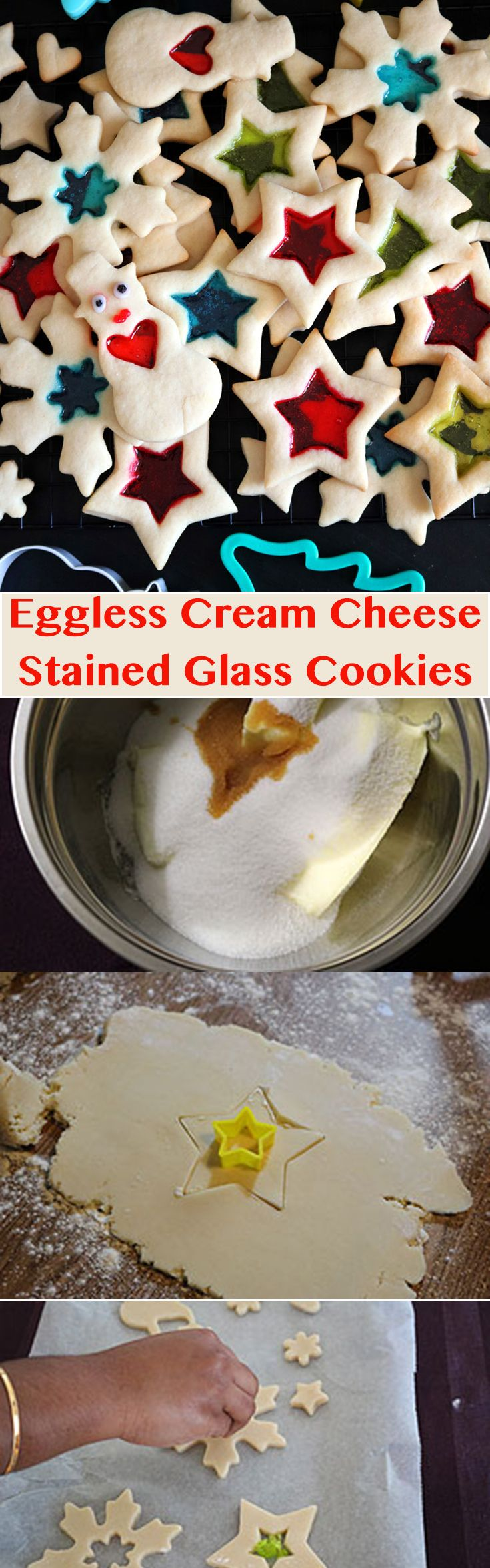 Eggless Cream Cheese Stained-glass Sugar Cookie is the perfect cookie for an anytime holiday mood. It is both easy to make as well as fun to eat later on.