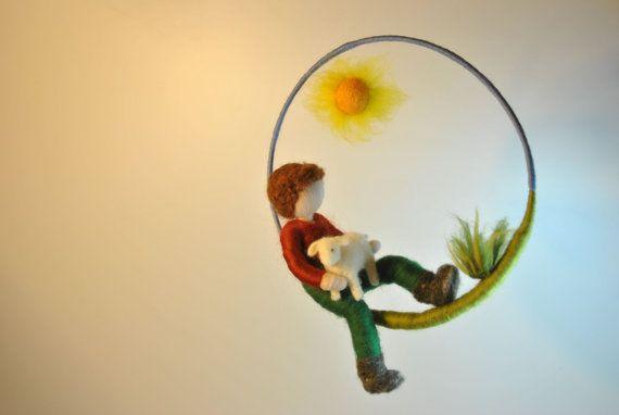 Waldorf inspired needle felted doll mobile Shepherd by MagicWool