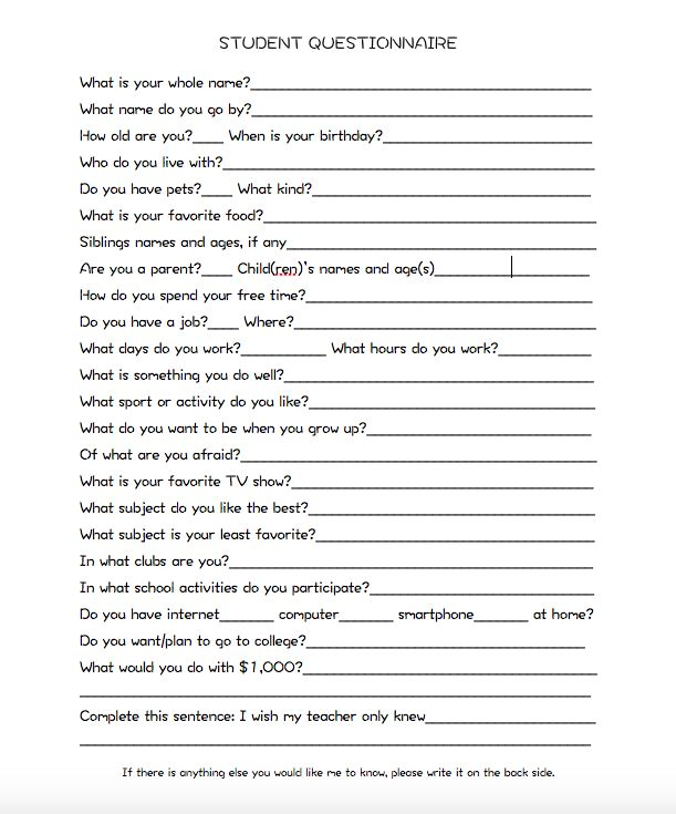 Best 25+ Student questionnaire ideas on Pinterest Interest - example of survey form
