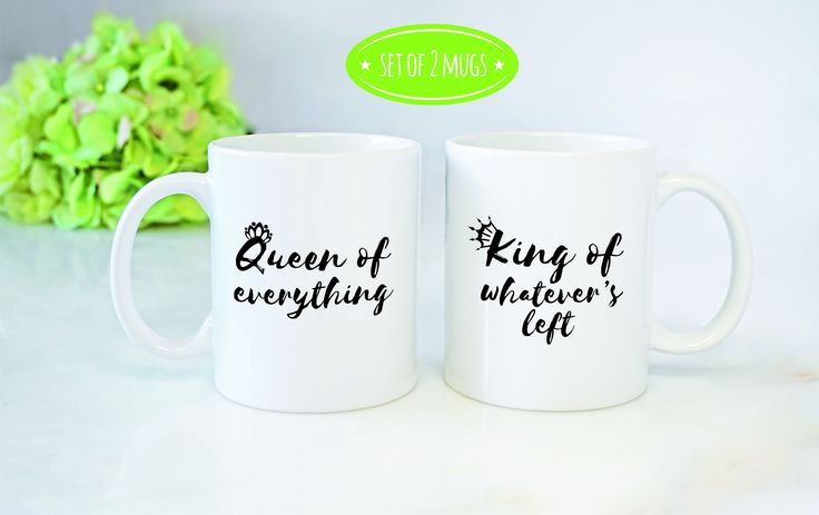 Newlywed Mugs, Couple Mugs, Engagement Mug Set, Couple Humor, Hubby Wifey Mugs, Queen Of Everything King Of Whatevers Left Mug Set by mhuglife on Etsy https://www.etsy.com/ca/listing/519709770/newlywed-mugs-couple-mugs-engagement-mug