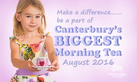 Canterbury's Biggest Morning Tea 2016 Cholmondeley Children's Centre in New Zealand, offers children short term planned and emergency respite care during times of stress and crisis. Support us and take part in CBMT 2016 this August by registering http://cbmt2016.eventbrite.co.nz