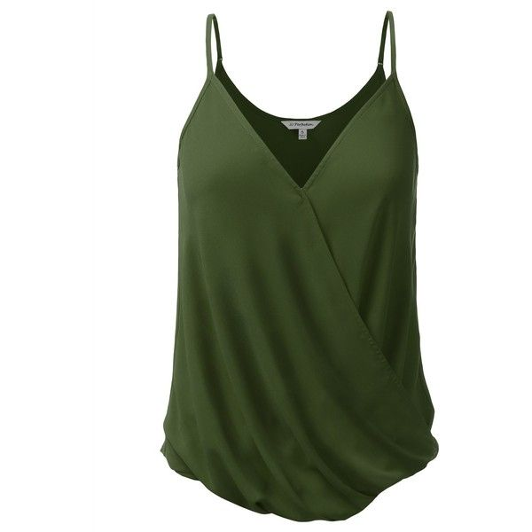 00f9721a3d3421 JJ Perfection Womens V Neck Wrap Blouse Cami Tank Top OLIVE S at ...